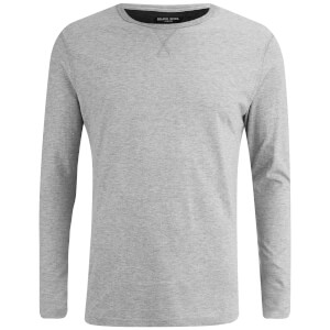 Brave Soul Men's Prague Long Sleeve Top - Light Grey Marl