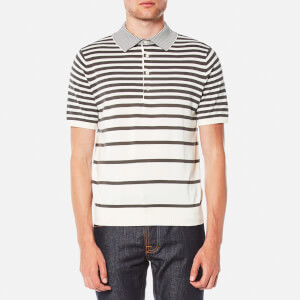 PS by Paul Smith Men's Short Sleeve Knitted Striped Polo Shirt - Grey/White