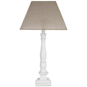Fifty Five South Maine Candlestick Table Lamp - White Wood/Beige