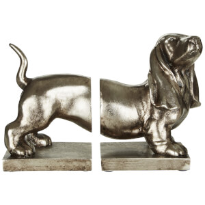 Fifty Five South Dog Bookends - Antique Silver (Set of 2)
