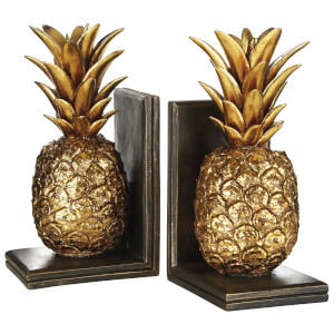 Fifty Five South Pineapple Bookends - Gold/Brown (Set of 2)