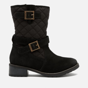 Barbour Women's Barnes Waxy Suede Quilted Mid Boots - Black