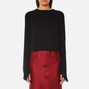 Helmut Lang Women's Cropped Ruffle Pullover Jumper - Black