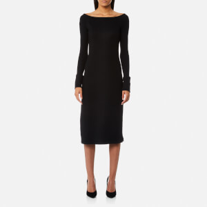 Helmut Lang Women's Boat Neck Wool Dress - Black