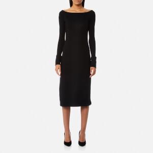 Helmut Lang Women's Boat Neck Wool Dress - Black
