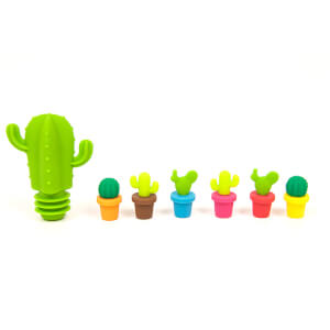 Cactus Silicone Wine Stopper and Markers - Green