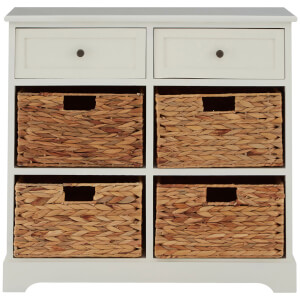 Vermont Two Drawer Cabinet with Water Hyacinth Baskets - Ivory