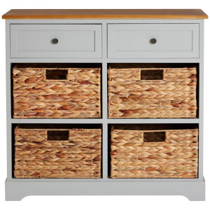 Vermont Two Drawer Cabinet with Water Hyacinth Baskets - Grey