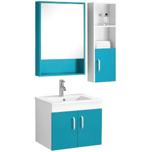 Beaumont Basin, Under Sink Cabinet, Mirrored Cabinet and Side Cabinet Set - Turquoise/White High Gloss