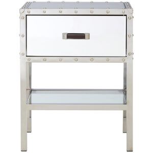 Rivet Mirrored Bedside Table - Stainless Steel