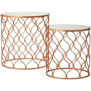 Avantis Mirrored Tables - Copper Finish (Set of 2)
