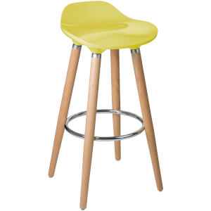 Geo Bar Stool - Beech Wood/Mustard