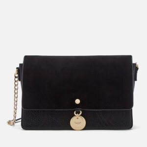 Dune Women's Evania Suede Flap Cross Body Bag - Black