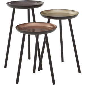 Fifty Five South Complements Round Side Tables (Set of 3) - Gold/Black