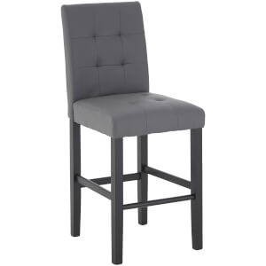 Fifty Five South Regents Park Bar Chair - Grey Leather Effect