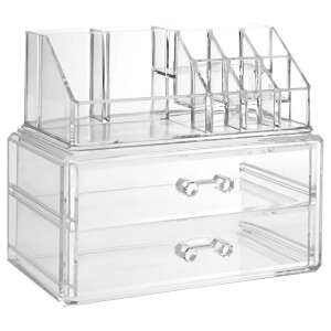 Fifty Five South 10 Compartment Two Drawer Cosmetics Organiser - Clear