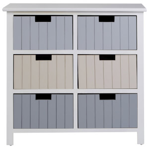 Fifty Five South New England Six Drawer Chest - White/Pastel