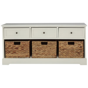 Fifty Five South Vermont Three Drawer Bench - Ivory