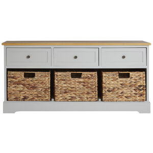 Fifty Five South Vermont Three Drawer Bench - Grey