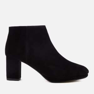 Clarks Women's Kelda Nights Suede Platform Heeled Ankle Boots - Black