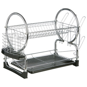 2 Tier Large Dish Drainer - Chrome/Black