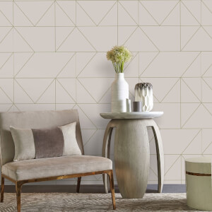 Kelly Hoppen Geo Geometric Metallic Wallpaper - Taupe/Khaki