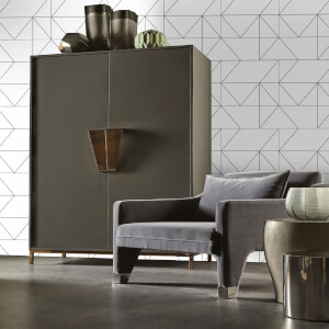Kelly Hoppen Geo Geometric Metallic Wallpaper - Black/White