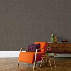 Boutique Textured Koruku Metallic Plain Wallpaper - Chocolate