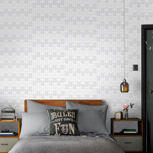 Superfresco Easy Oiti Chevron Geometric Wallpaper - Silver