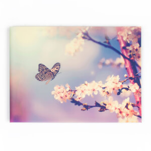 Art For The Home Butterfly Branch Glitter Printed Canvas Wall Art