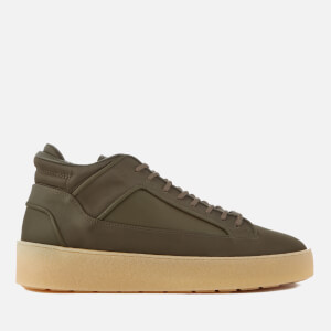 ETQ. Men's Mid 2 Nylon/Full Grain Leather Trainers - Verdant Green