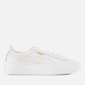 Puma Women's Basket Platform Core Trainers - Puma White/Gold