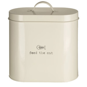 Premier Housewares Adore Pets Feed The Cat Food Storage Bin with Spoon (2.8L) - Cream