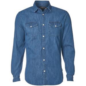 Jack & Jones Men's Originals New One Long Sleeve Denim Shirt - Dark Blue