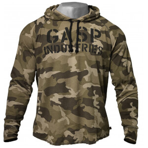 GASP Long sleeve thermal hoodie - Green camoprint