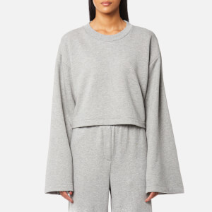 T by Alexander Wang Women's Tie Back Long Sleeve Crop Sweatshirt - Heather Grey