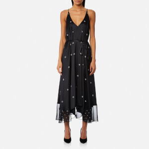 T by Alexander Wang Women's Sleeveless V-Neck Trapeze Dress - Black/Bone Print