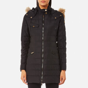 Belstaff Women's Melcombe Long Quilted Coat with Fur Hood - Black