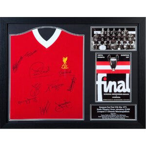 Liverpool '77 Signed and Framed Shirt (Includes Ten Signatures)