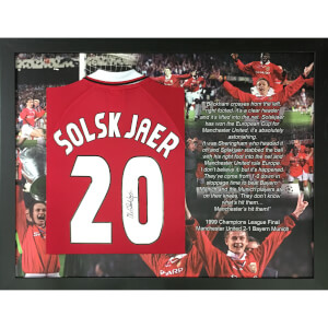 Ole Gunnar Solksjaer Signed and Framed No. 20 Shirt