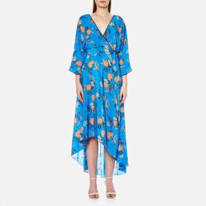 Diane von Furstenberg Women's Long Sleeve Asymmetric Hem Dress - Silese Tile Blue/Midnight