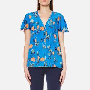 Diane von Furstenberg Women's Flutter Sleeve Blouse - Silese Tile Blue