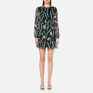 Diane von Furstenberg Women's Crew Neck Mini Dress - Chatham Large Black