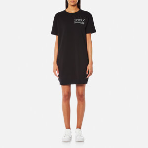 Love Moschino Women's 100 Percent Crystal Logo Sweatshirt Dress - Black