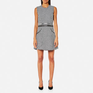 Alexander Wang Women's Raw Edge Peplum Snap Waistband Dress - Black/White