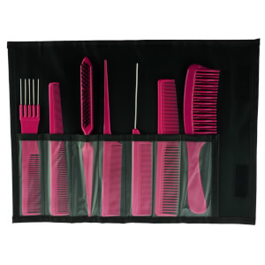 Salon Smart 7 Comb Set In Folding Pouch Pink
