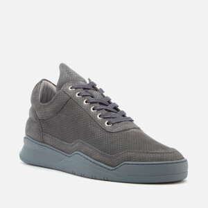 Filling Pieces Ghost Perforated Suede Low Top Trainers - Dark Grey: Image 2