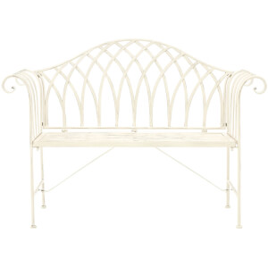 Finchwood Jardin Antique Bench - Wrought Iron Cream