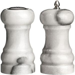 Premier Housewares Salt Shaker and Pepper Mill Set - White Marble (10 x 6cm)
