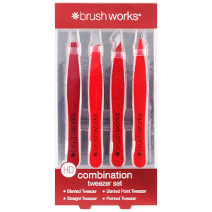 brushworks HD Combination Tweezer Set - Red